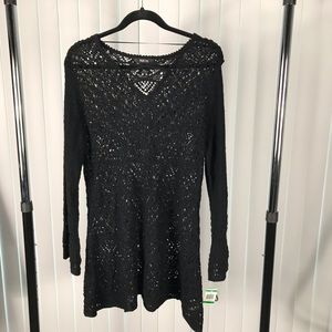 Style & Co black open weave tunic sweater. NWT